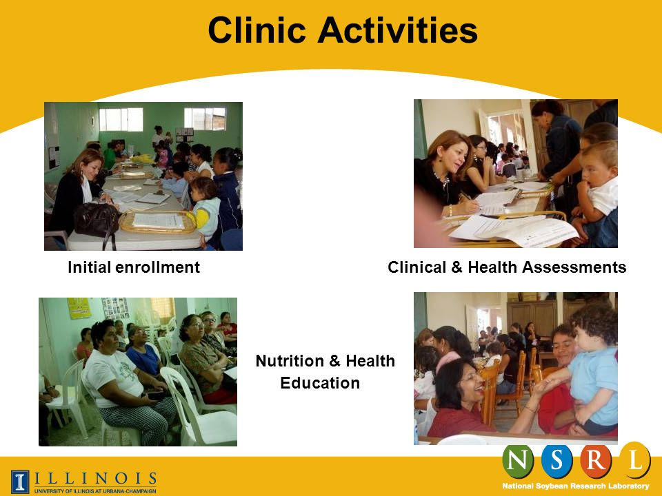 Clinic Activities Initial enrollment Nutrition & Health Education Clinical & Health Assessments