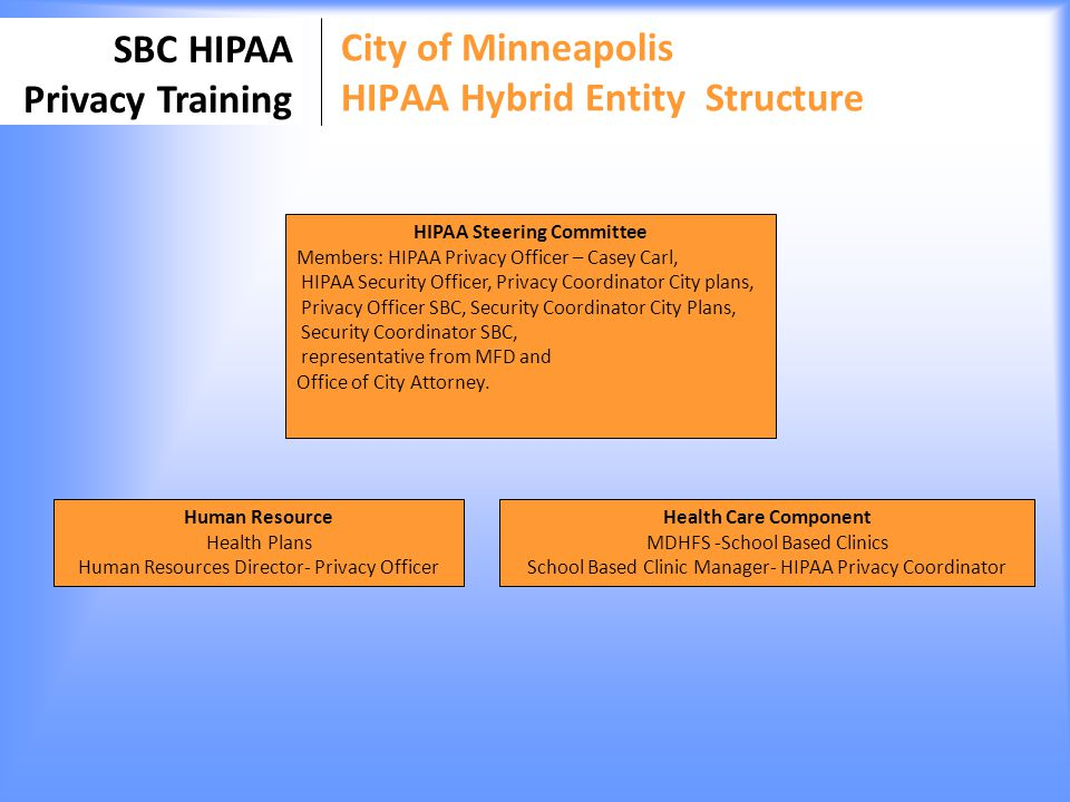 SBC HIPAA Privacy Training City of Minneapolis HIPAA Hybrid Entity Structure HIPAA Steering Committee Members: HIPAA Privacy Officer – Casey Carl, HIP