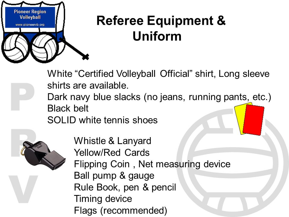PRVPRV Referee Equipment & Uniform White Certified Volleyball Official shirt, Long sleeve shirts are available. Dark navy blue slacks (no jeans, runni
