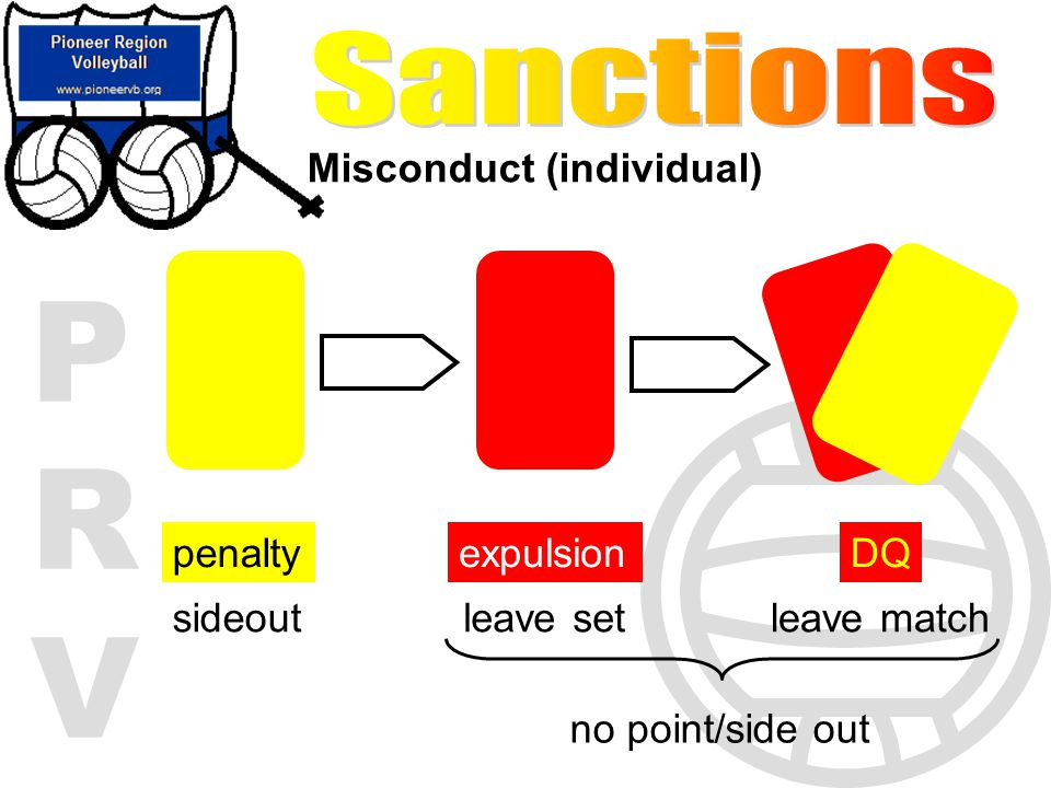 PRVPRV Misconduct (individual) penalty sideout expulsion leave set DQ leave match no point/side out