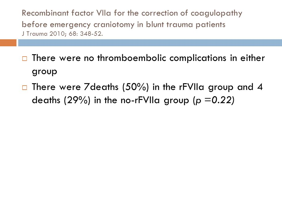 Recombinant factor VIIa for the correction of coagulopathy before emergency craniotomy in blunt trauma patients J Trauma 2010; 68: 348-52.