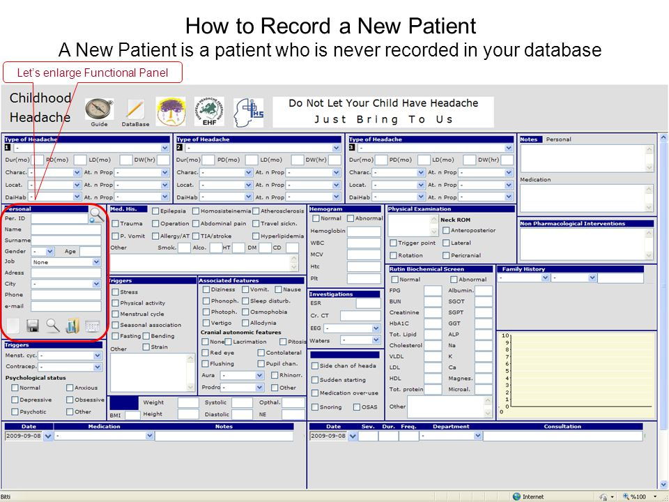 A New Patient is a patient who is never recorded in your database Lets enlarge Functional Panel