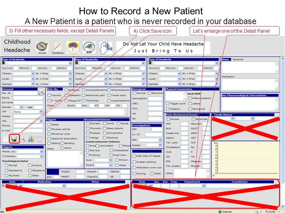 4) Click Save icon How to Record a New Patient A New Patient is a patient who is never recorded in your database Lets enlarge one of the Detail Panel 3) Fill other necessary fields; except Detail Panels