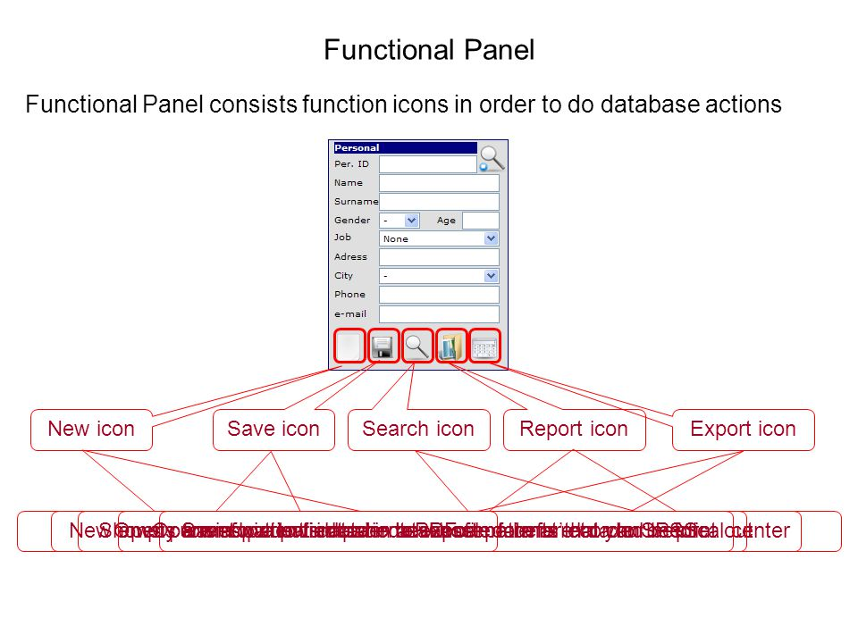 Functional Panel Functional Panel consists function icons in order to do database actions New icon New empty form for a patient who never came before to your medical center Save icon Saves patient data in database Search icon Opens a window to find patients whose data is recorded before Report icon Shows current patients data in a PDF file format that can be print out Export icon Opens a window in order to export patients data to SPSS