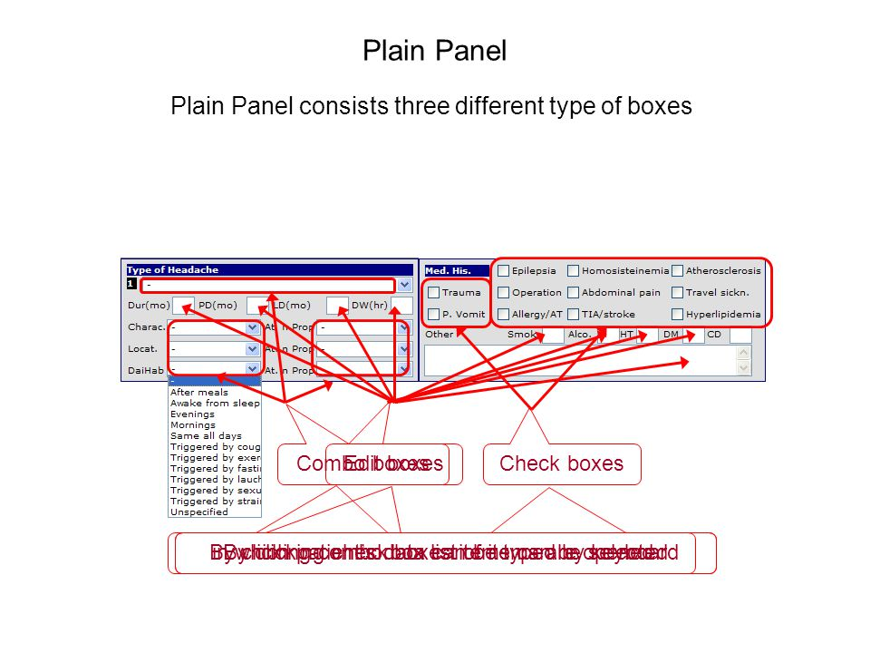 in which patients data can be typed by keyboard Plain Panel Plain Panel consists three different type of boxes Edit boxes Combo boxes By clicking combo box list of items are opened Check boxes By clicking check boxes items can be selected