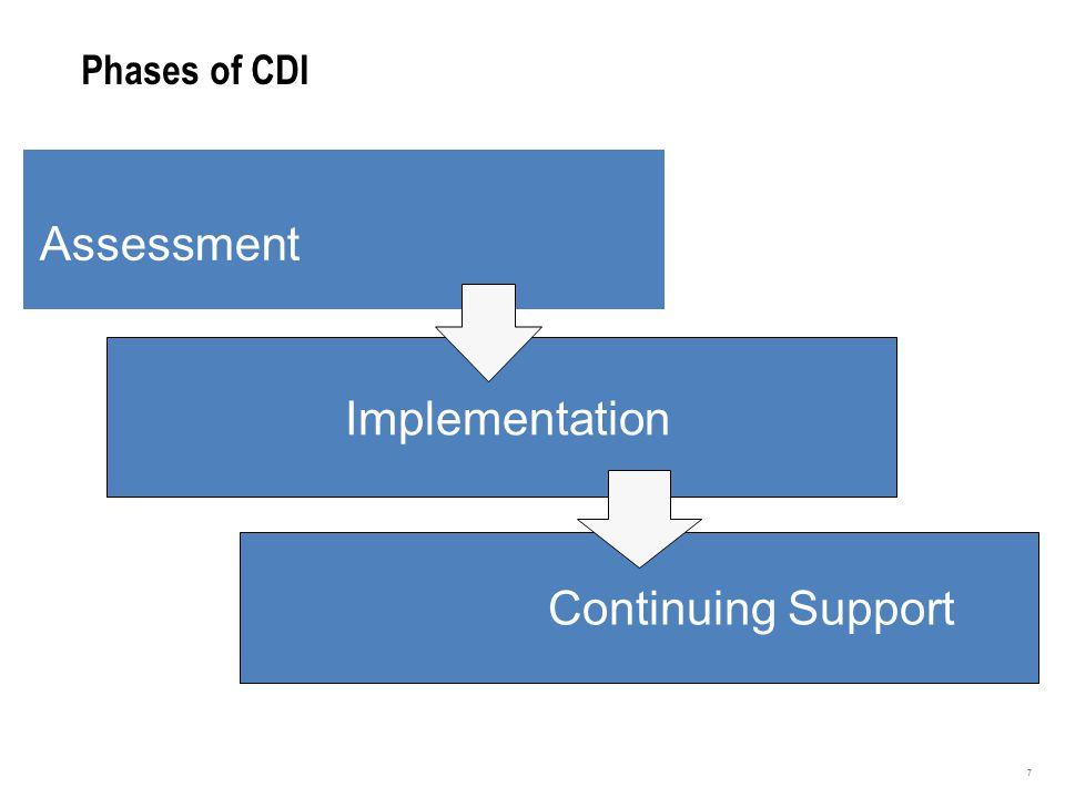 3 Phases of CDI 7 Assessment Implementation Continuing Support