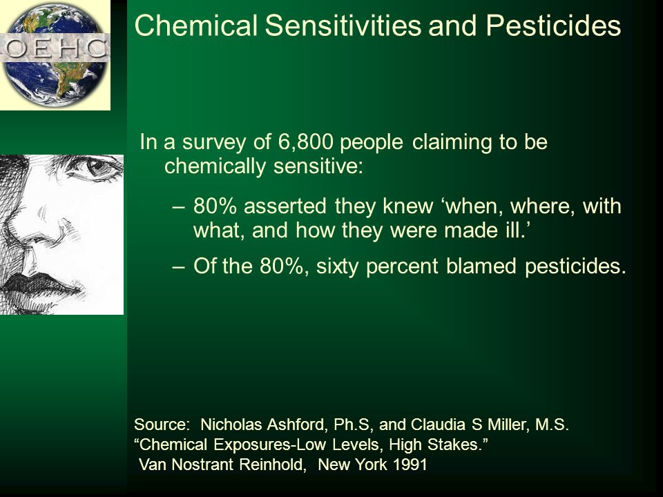 Chemical Sensitivities and Pesticides In a survey of 6,800 people claiming to be chemically sensitive: –80% asserted they knew when, where, with what, and how they were made ill.