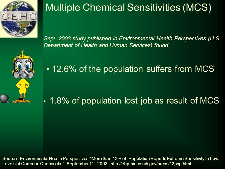 Multiple Chemical Sensitivities (MCS) Sept. 2003 study published in Environmental Health Perspectives (U.S. Department of Health and Human Services) f