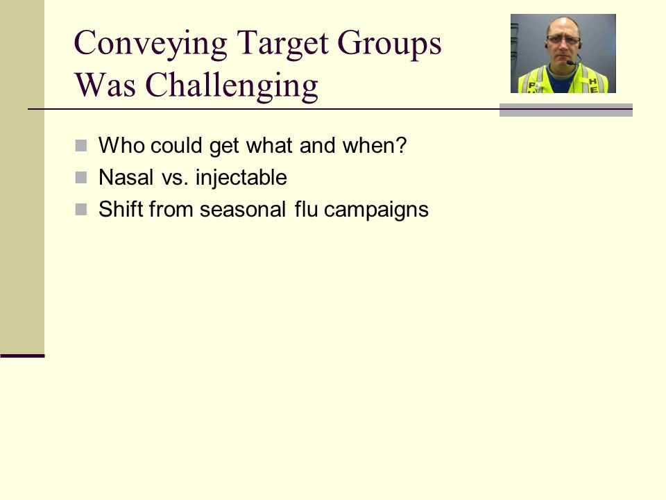 Conveying Target Groups Was Challenging Who could get what and when.