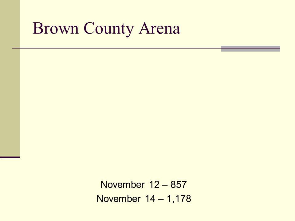 Brown County Arena November 12 – 857 November 14 – 1,178
