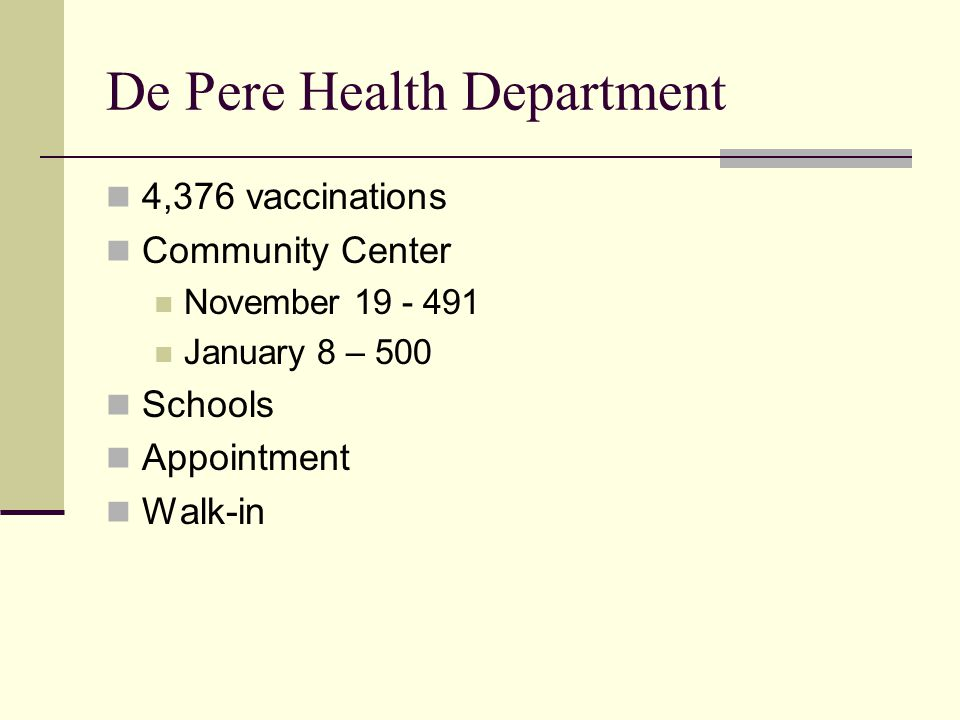 De Pere Health Department 4,376 vaccinations Community Center November 19 - 491 January 8 – 500 Schools Appointment Walk-in