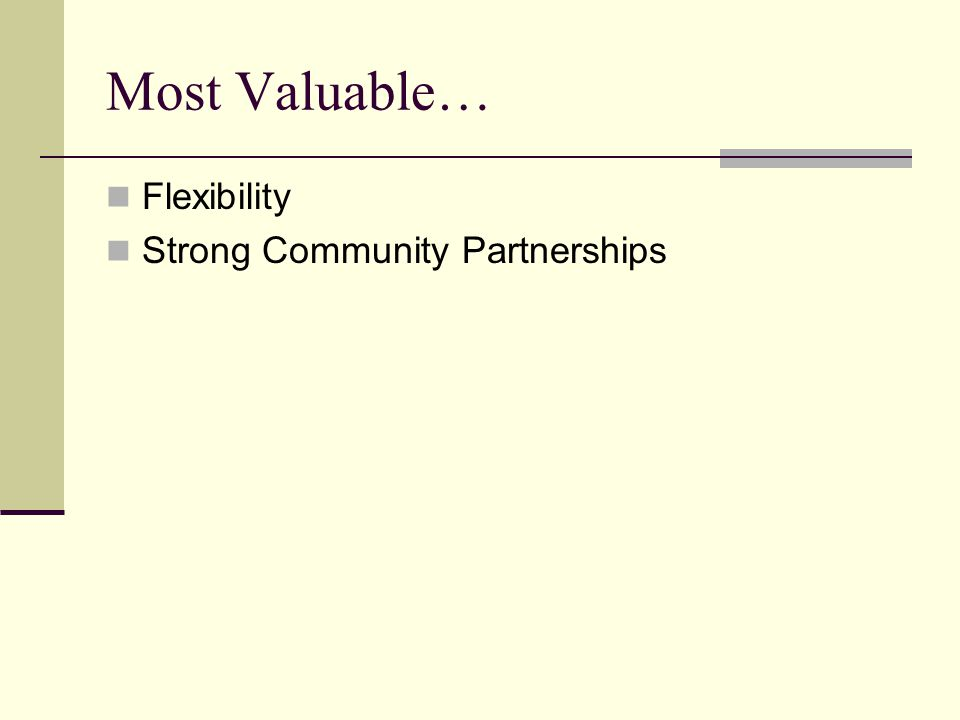 Most Valuable… Flexibility Strong Community Partnerships