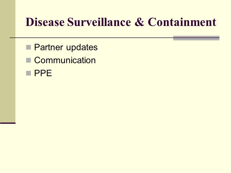 Disease Surveillance & Containment Partner updates Communication PPE