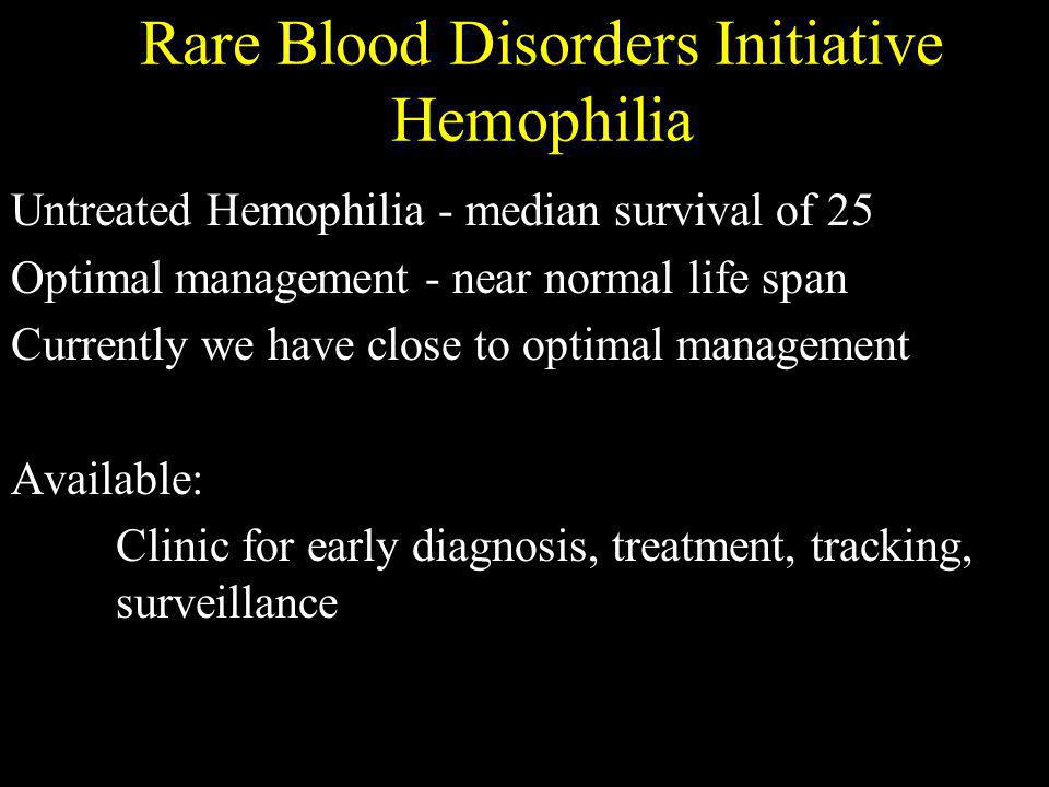 Rare Blood Disorders Initiative Sickle Cell Anemia Untreated Sickle cell anemia - median survival of 25 Optimal management - near normal life span Currently we have something in between.