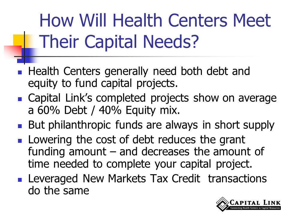 How Will Health Centers Meet Their Capital Needs.