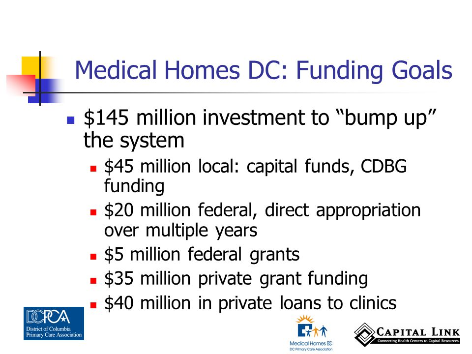 $145 million investment to bump up the system $45 million local: capital funds, CDBG funding $20 million federal, direct appropriation over multiple years $5 million federal grants $35 million private grant funding $40 million in private loans to clinics Medical Homes DC: Funding Goals