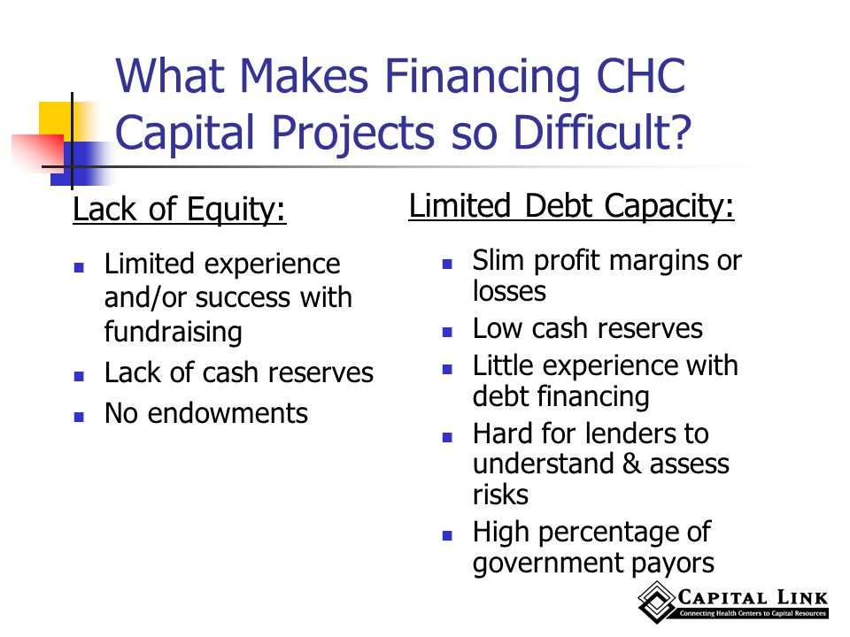 What Makes Financing CHC Capital Projects so Difficult.