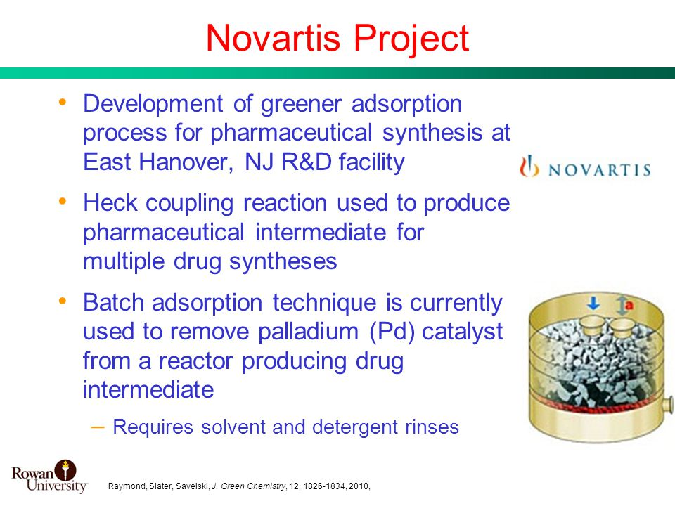 14 Development of greener adsorption process for pharmaceutical synthesis at East Hanover, NJ R&D facility Heck coupling reaction used to produce phar