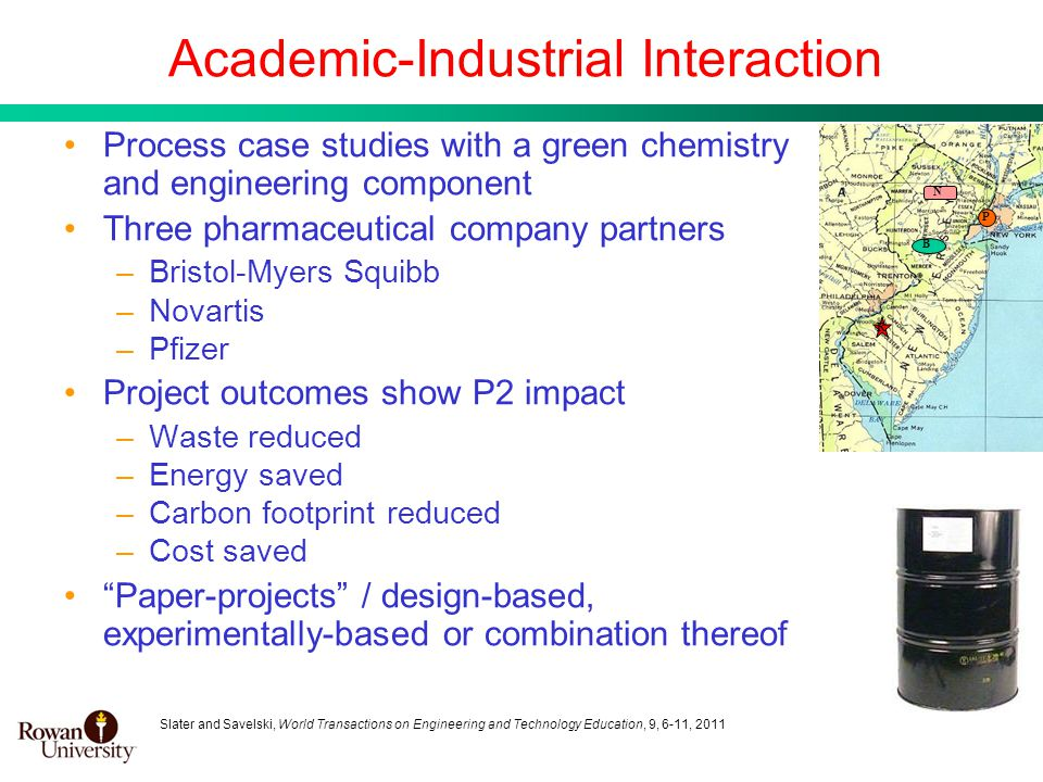 4 Academic-Industrial Interaction Process case studies with a green chemistry and engineering component Three pharmaceutical company partners –Bristol