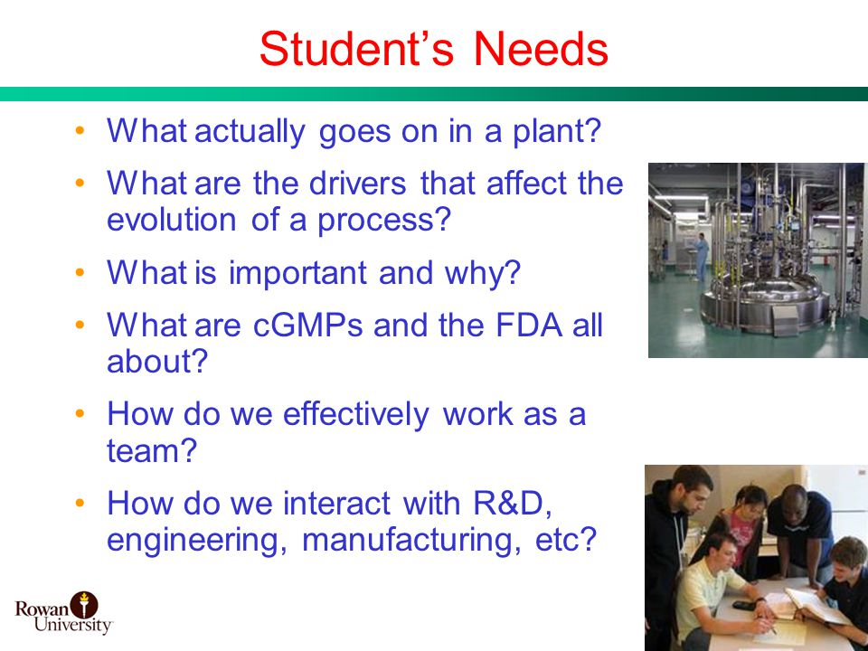 9 Students Needs What actually goes on in a plant? What are the drivers that affect the evolution of a process? What is important and why? What are cG