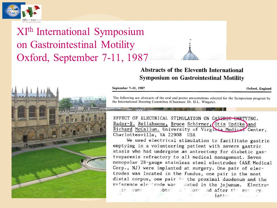 XI th International Symposium on Gastrointestinal Motility Oxford, September 7-11, 1987