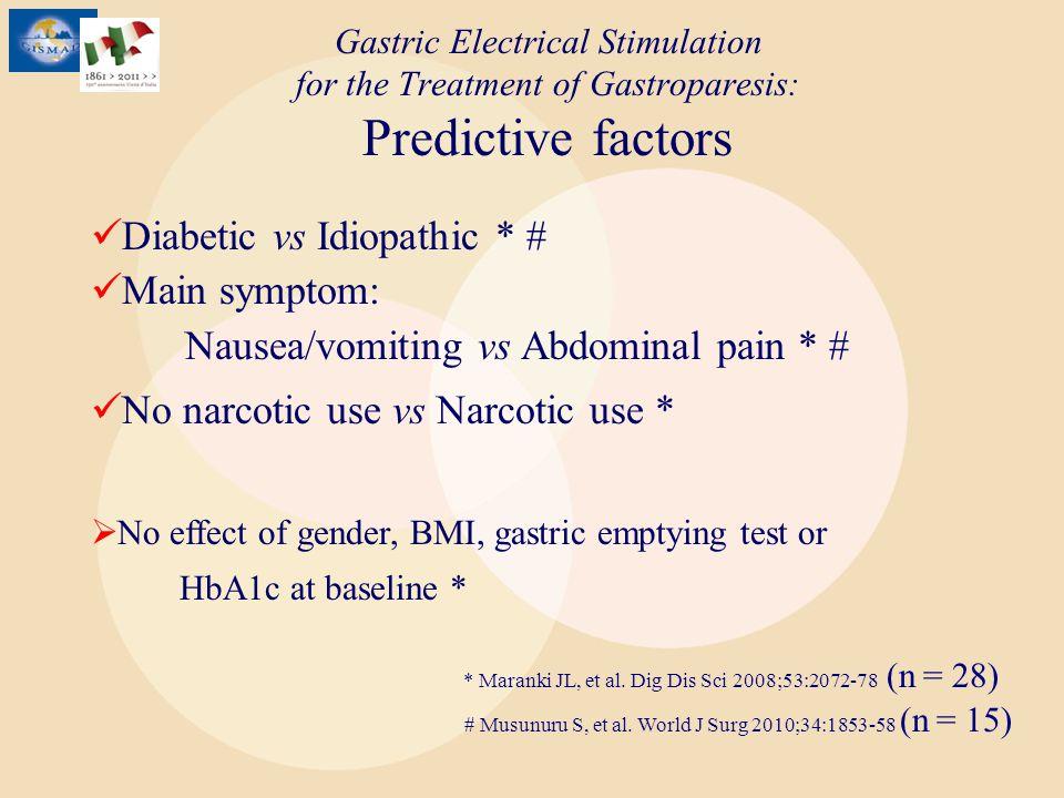 Gastric Electrical Stimulation for the Treatment of Gastroparesis: Predictive factors * Maranki JL, et al. Dig Dis Sci 2008;53:2072-78 (n = 28) Diabet