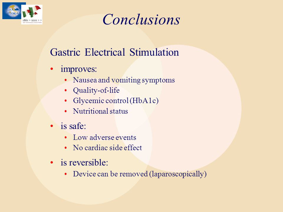 Conclusions Gastric Electrical Stimulation improves: Nausea and vomiting symptoms Quality-of-life Glycemic control (HbA1c) Nutritional status is safe: