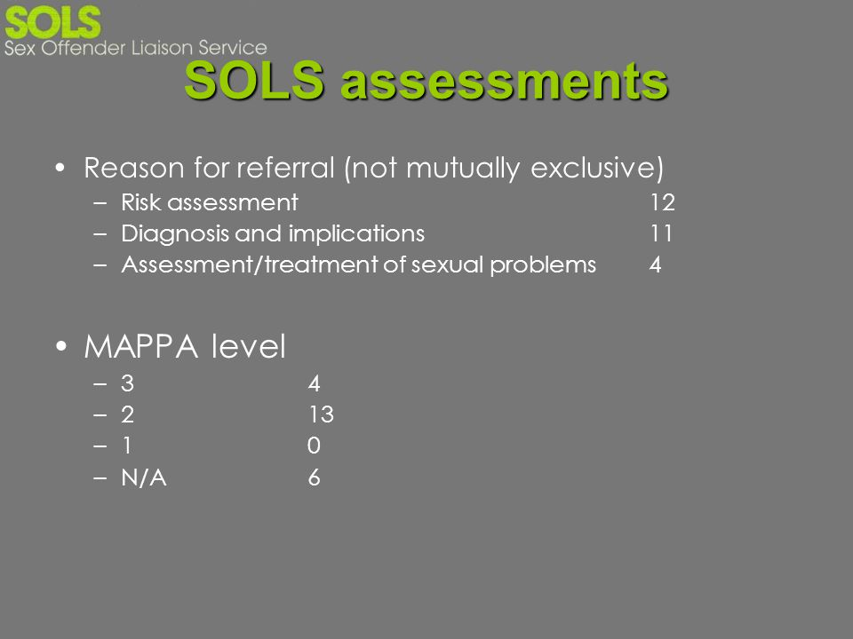 SOLS assessments Reason for referral (not mutually exclusive) –Risk assessment12 –Diagnosis and implications11 –Assessment/treatment of sexual problem