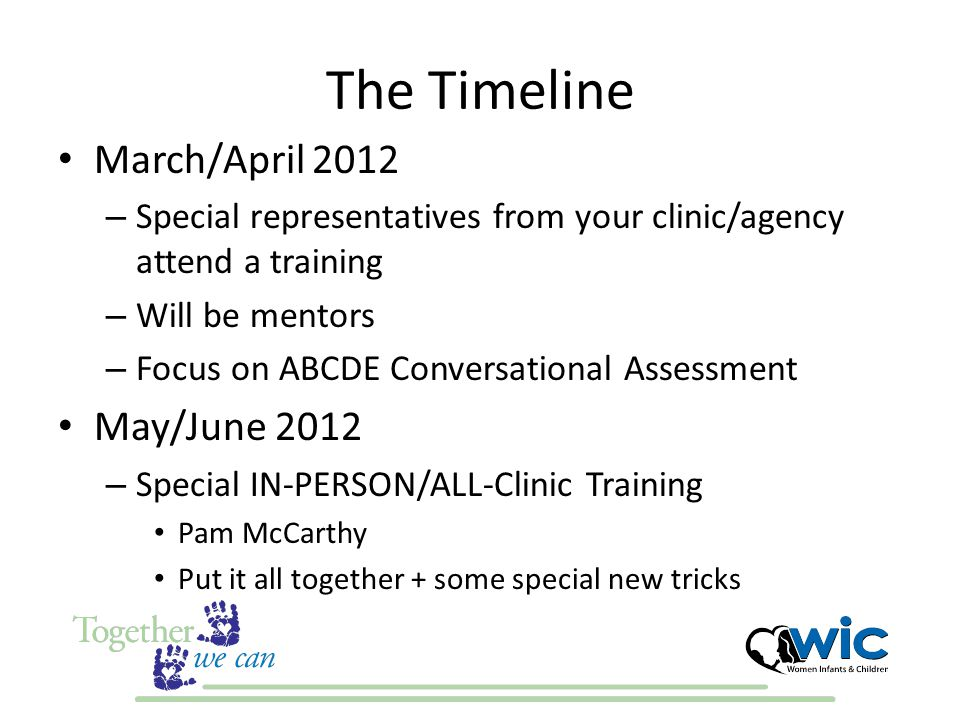 The Timeline March/April 2012 – Special representatives from your clinic/agency attend a training – Will be mentors – Focus on ABCDE Conversational Assessment May/June 2012 – Special IN-PERSON/ALL-Clinic Training Pam McCarthy Put it all together + some special new tricks