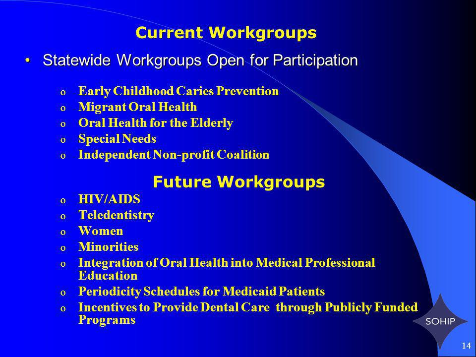14 Statewide Workgroups Open for ParticipationStatewide Workgroups Open for Participation o Early Childhood Caries Prevention o Migrant Oral Health o