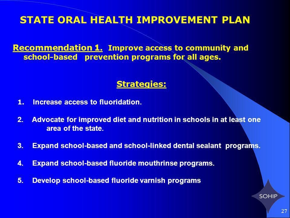 27 STATE ORAL HEALTH IMPROVEMENT PLAN Recommendation 1.