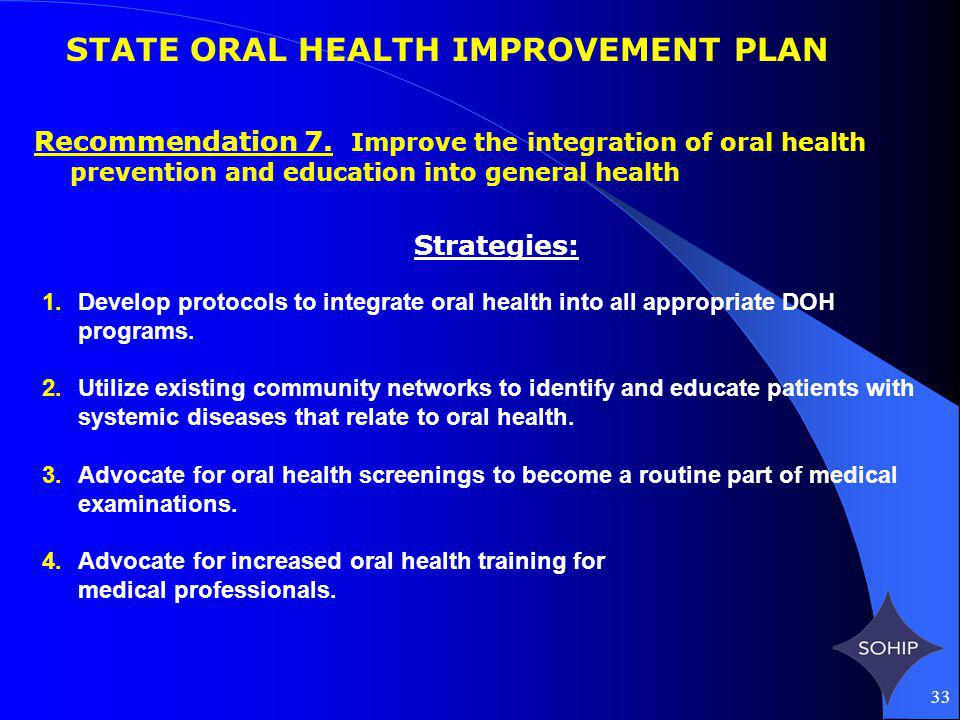 33 STATE ORAL HEALTH IMPROVEMENT PLAN Recommendation 7.