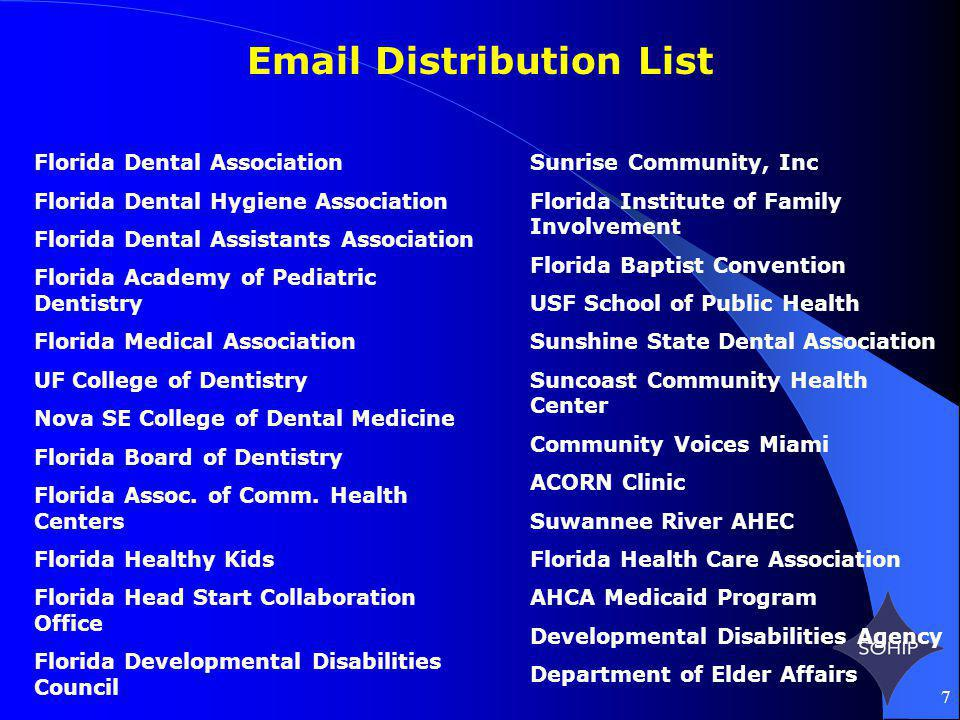 7 Email Distribution List Florida Dental Association Florida Dental Hygiene Association Florida Dental Assistants Association Florida Academy of Pedia