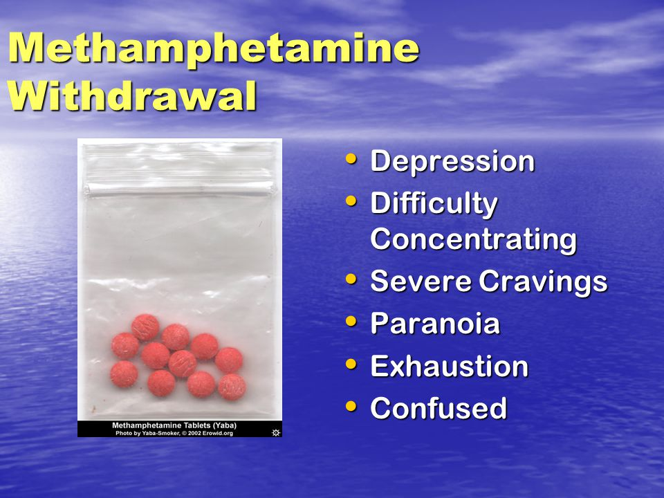 Methamphetamine Withdrawal Depression Depression Difficulty Concentrating Difficulty Concentrating Severe Cravings Severe Cravings Paranoia Paranoia Exhaustion Exhaustion Confused Confused