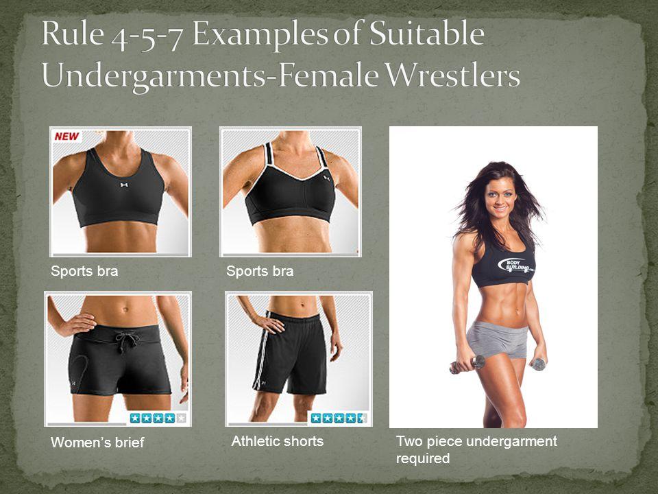 Sports bra Womens brief Athletic shortsTwo piece undergarment required
