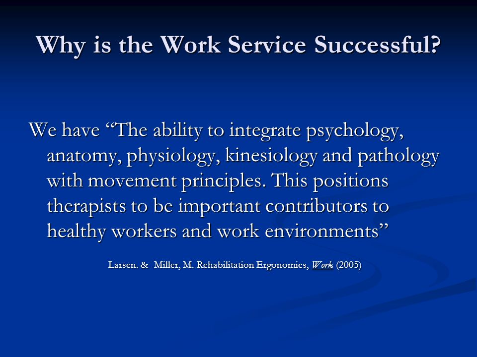 Why is the Work Service Successful.