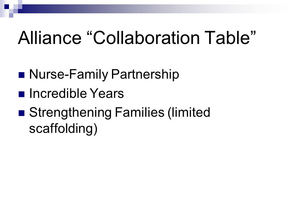 Alliance Collaboration Table Nurse-Family Partnership Incredible Years Strengthening Families (limited scaffolding)