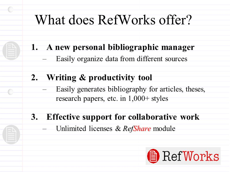 What does RefWorks offer.