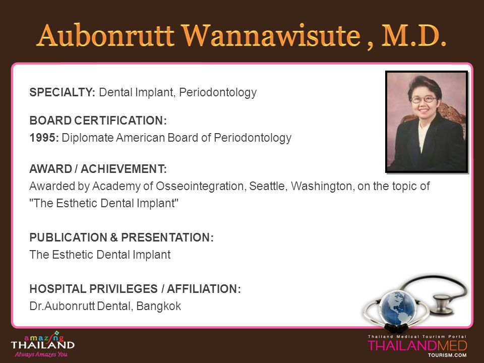 SPECIALTY: Dental Implant, Periodontology BOARD CERTIFICATION: 1995: Diplomate American Board of Periodontology AWARD / ACHIEVEMENT: Awarded by Academ