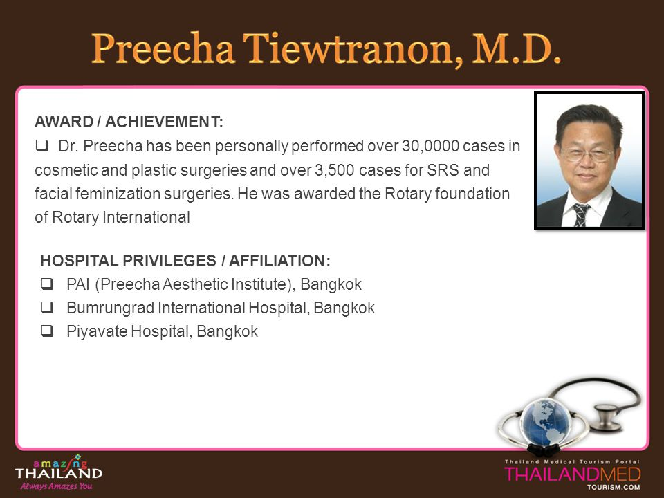 SPECIALTY: Cardiovascular Disease Cardiology Coronary Intervention Cardiovascular Imaging BOARD CERTIFICATION: 1995: Certified Thai Board of Internal Medicine 1997: Certified Thai Board of Cardiovascular Medicine HOSPITAL PRIVILEGES / AFFILIATION: Chiangmai Ram Hospital, Chiang Mai Lanna Hospital Teppanya Hospital