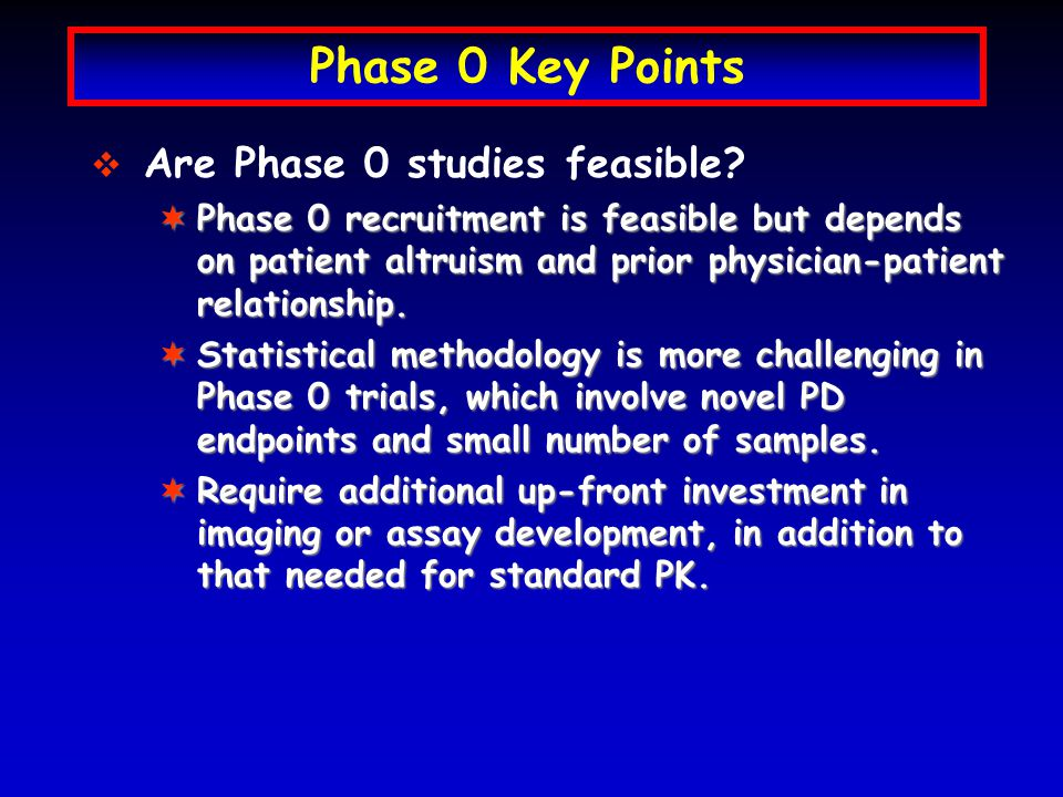 Phase 0 Key Points In what circumstances are Phase 0 studies applicable for early drug development.