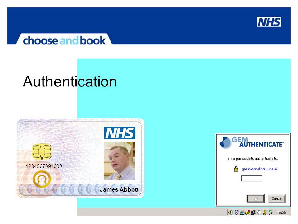 Authentication 1234567891000 James Abbott