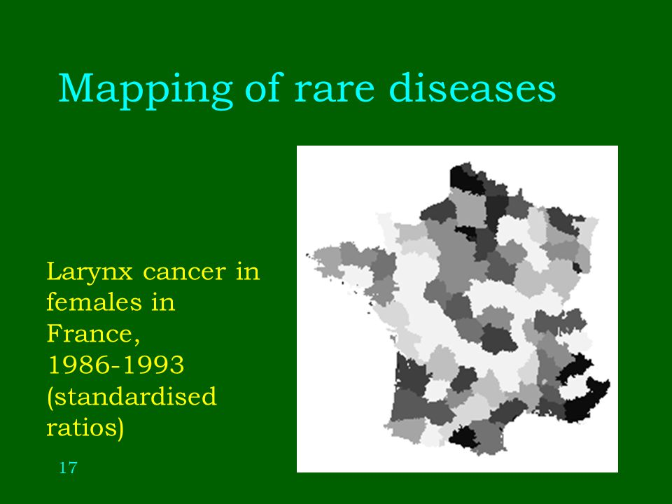 17 Mapping of rare diseases Larynx cancer in females in France, (standardised ratios)