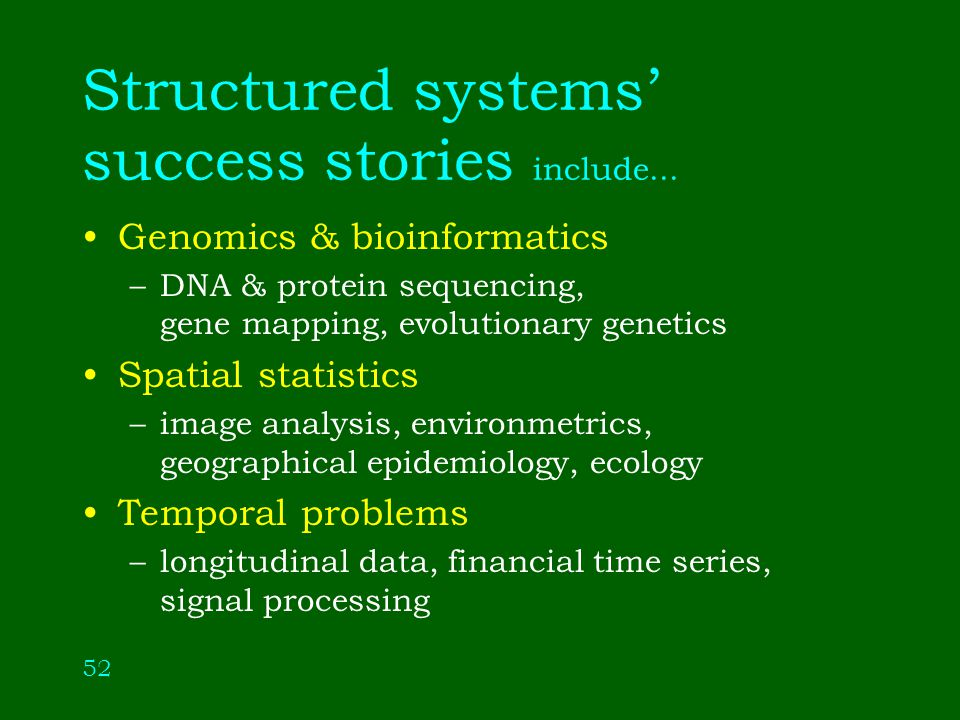 52 Structured systems success stories include...