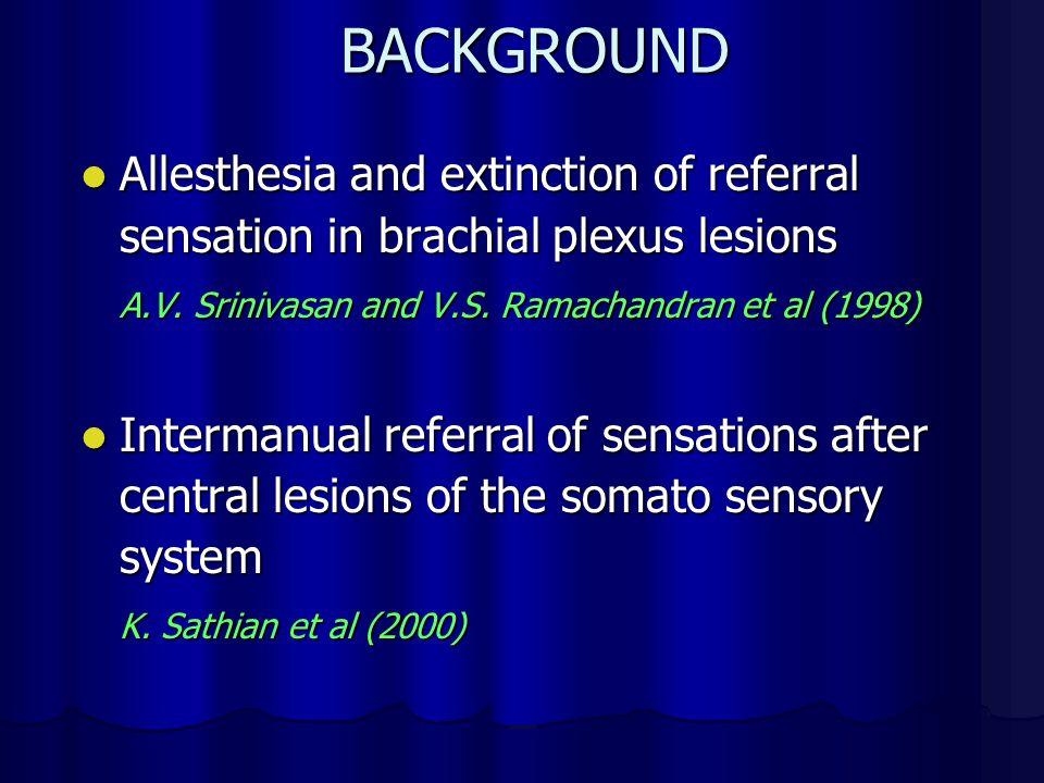 BACKGROUND Allesthesia and extinction of referral sensation in brachial plexus lesions Allesthesia and extinction of referral sensation in brachial plexus lesions A.V.