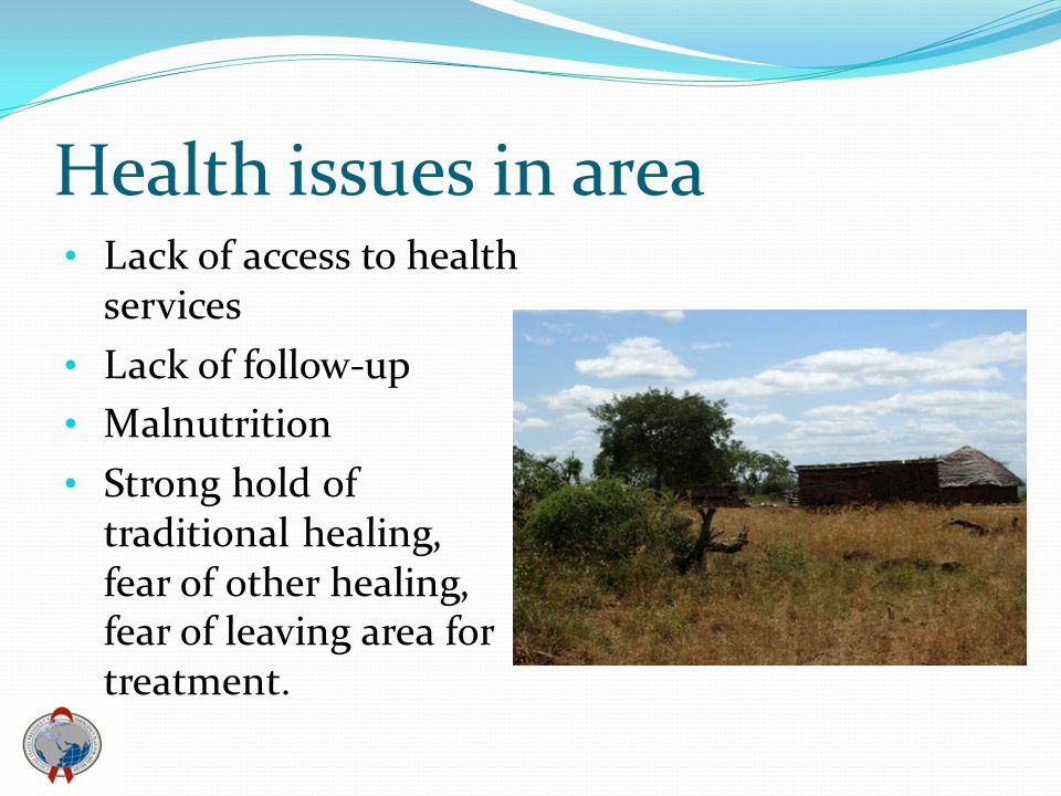 Health issues in area Lack of access to health services Lack of follow-up Malnutrition Strong hold of traditional healing, fear of other healing, fear of leaving area for treatment.