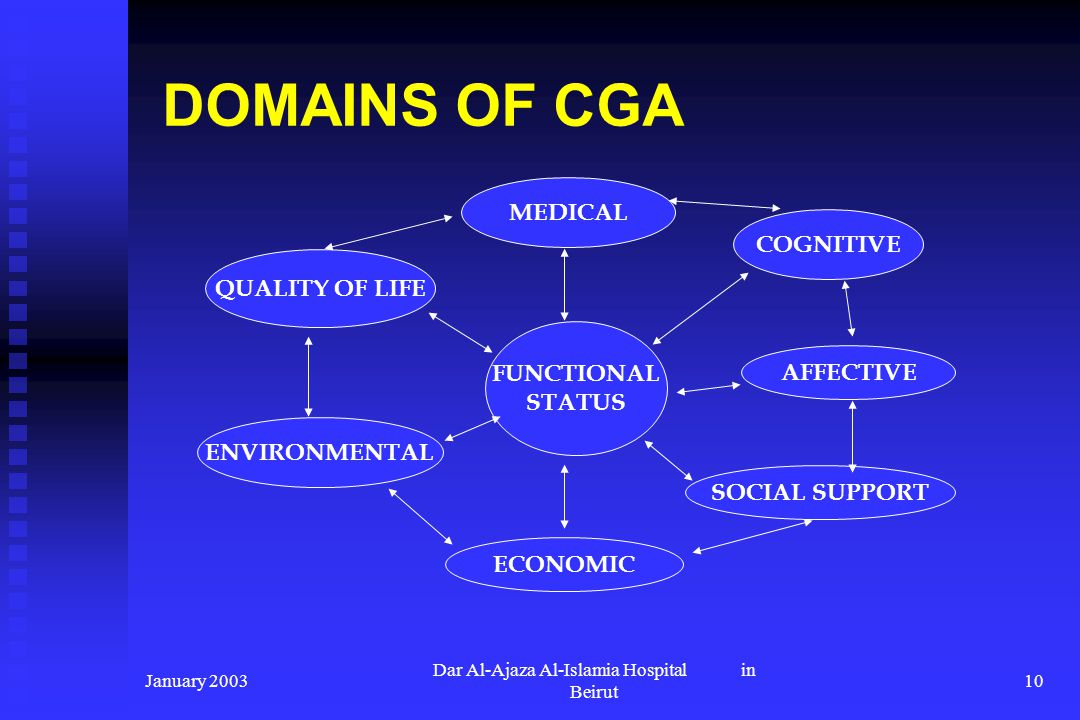 January 2003 Dar Al-Ajaza Al-Islamia Hospital in Beirut 10 DOMAINS OF CGA FUNCTIONAL STATUS QUALITY OF LIFE MEDICAL COGNITIVE AFFECTIVE ENVIRONMENTAL