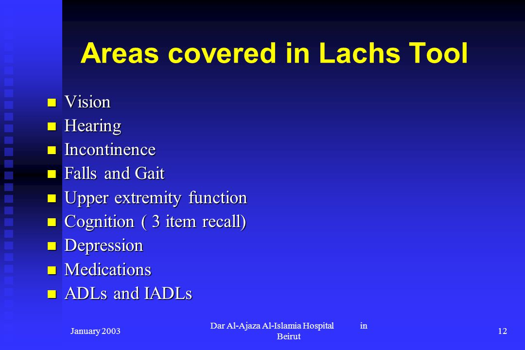 January 2003 Dar Al-Ajaza Al-Islamia Hospital in Beirut 12 Areas covered in Lachs Tool Vision Vision Hearing Hearing Incontinence Incontinence Falls a