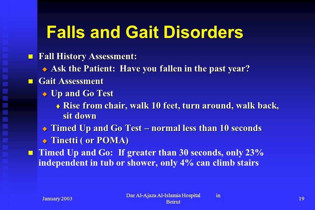 January 2003 Dar Al-Ajaza Al-Islamia Hospital in Beirut 19 Falls and Gait Disorders Fall History Assessment: Fall History Assessment: Ask the Patient:
