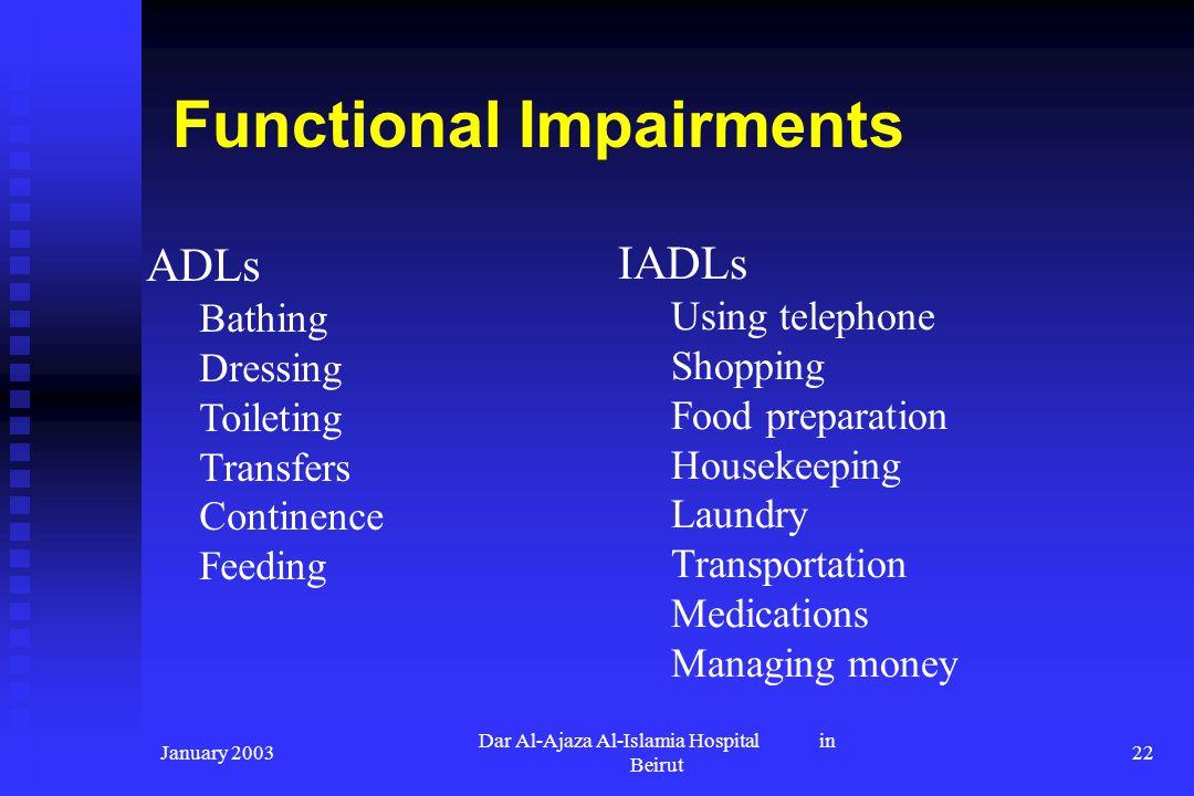 January 2003 Dar Al-Ajaza Al-Islamia Hospital in Beirut 22 Functional Impairments ADLs Bathing Dressing Toileting Transfers Continence Feeding IADLs U